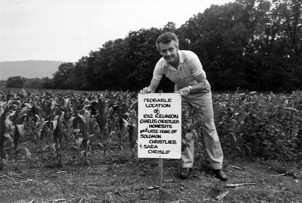 Ned Crislip at the site of Sarah & Solomon's Farm in 1983.